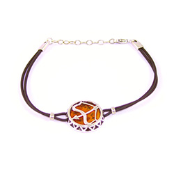Sterling Silver and Baltic amber Sagittarius zodiac sign charm on a durable cord made of black rubber.