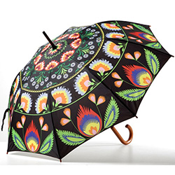 "What a unique item!  Designed in Poland this beautiful umbrella features a Polish paper cut design.  Sturdy wooden handle and shaft with metal frame ribbing and a polyester folk print cover.  Large 41"" - 105cm dish diameter and 35"" - 89cm long."