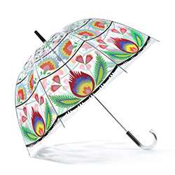 "What a unique item!  Designed in Poland this beautiful see-through  bubble umbrella features a Polish paper cut design.  Solid clear plastic handle and with metal shaft and frame ribbing and a PVC folk print cover.  Size 31.5"" - 80cm dish diameter and 32"""