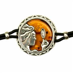 Sterling Silver and Baltic amber Virgo zodiac sign charm on a durable cord made of black rubber.