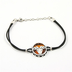 Sterling Silver and Baltic amber Aries zodiac sign charm on a durable cord made of black rubber.