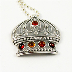 Multi-color amber 'jewels' set into a Sterling Silver Crown pendant.