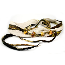 This versatile wool and amber wrap is the perfect accessory to any outfit.  Wear it around your neck or waist.  The artist gets inspiration for each creation with every unique piece of amber used.  Made completely by hand which makes this item truly one o