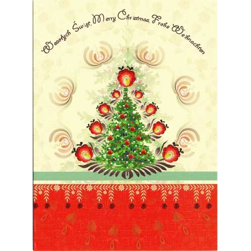 a beautiful glossy christmas card featuring a christmas tree glowing with polish paper cut flowers - Art Christmas Cards
