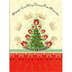 A beautiful glossy Christmas card featuring a Christmas tree glowing with Polish paper cut flowers. Cover greeting in Polish, English, and German.  Blank On The Inside.