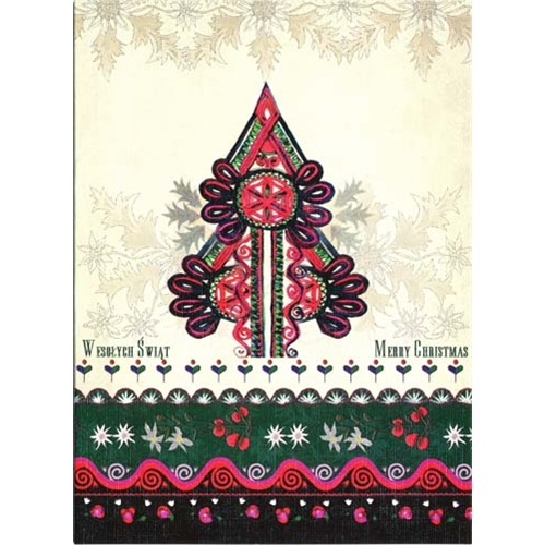 Polish art center polish folk christmas card goral christmas a beautiful glossy christmas card featuring a goral parzenica design christmas tree cover greeting in polish m4hsunfo