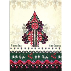 A beautiful glossy Christmas card featuring a Goral parzenica design Christmas tree 