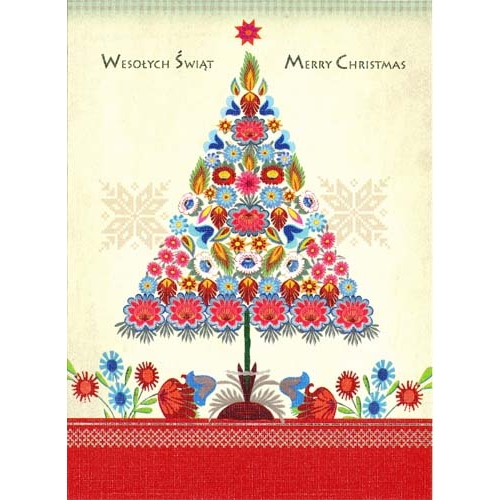 a beautiful glossy christmas card featuring a christmas tree created by colorful paper cut flowers