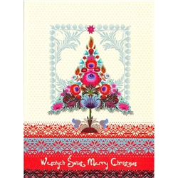 A beautiful glossy Christmas card featuring a Christmas tree created by colorful paper cut flowers.