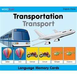 Language Memory Cards is a set of 60 cards: 30 cards with an image of  a transportation mode and its word in English, and 30 cards with the same image and its word in the other language. By matching the images on the two cards, children learn the words