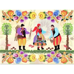 This beautiful note card features a scene depicting one of the most popular rural pastimes in Poland in the fall: hunting for wild mushrooms.  The scene is framed in colorful paper cut flowers from the Lowicz region of Poland.