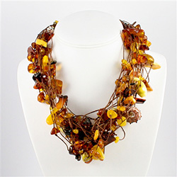 Bozena Przytocka is a designer of artistic amber jewelry based in Gdansk, Poland. Here is a perfect example of her use of amber and shells to create a beautiful and unique necklace composed of 24 strands of polished amber stones in a variety of shades fr