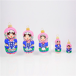 "Hand painted glass blown set of 5 Matrushka ornaments.  Packed in a display box.  Ornaments range in size from 4"" - 1.5"" - 10cm - 4cm tall.  Made In Poland"
