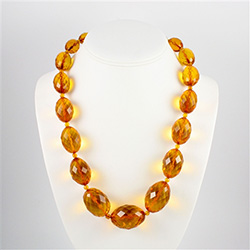 "22"" Faceted beaded Amber Necklace"