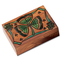 Shamrock Polish Box. A salute to all that is Irish, featuring 9 shamrocks. Hand stained and hand carved.