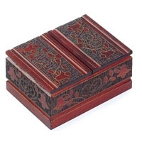 Double Decker Polish Box.  Brass inlays and burning complete this floral box. Lids open at center top and bottom of box for 2 compartments. cards not included