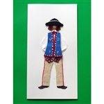 This card is dressed with material and wooden head to give a very special doll-like effect.  Our Goral (mountaineer) is from the Szczawnicki mountain area in southern Poland near Slovakia.