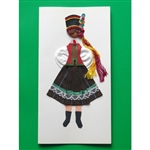 This card is dressed with material and wooden head to give a very special doll-like effect. Slight variations in dress can occur.  Kurpie i is a region in northeastern Poland.This card is dressed with material and wooden head to give a very special doll-l