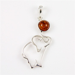 Sterling Silver and Baltic amber elephant.