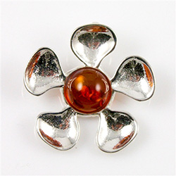 Sterling Silver and Baltic amber flower.