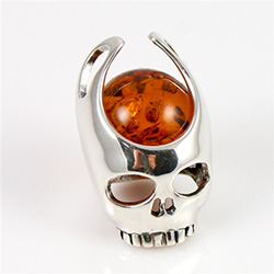 Baltic amber ball in Sterling Silver skull.