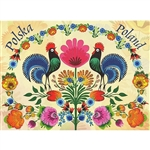 This beautiful note card features a pair of roosters below a rainbow of paper cut flowers and surrounded by a garden of colorful paper cut flowers from the Lowicz region of Poland. The mailing envelope features flowers in both the foreground and backgroun