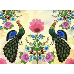 This beautiful note card features a pair of peacocks surrouinded by a gardenful of colorful paper cut flowers from the Lowicz region of Poland. The mailing envelope features flowers in both the foreground and background.  Spectacular!