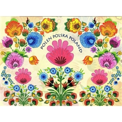 "This beautiful note card features a floral bouquet of colorful paper cut flowers from the Lowicz surrounding ""Poland"" in 3 languages. The mailing envelope features flowers in both the foreground and background.  Spectacular!"