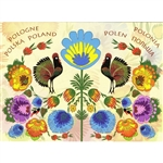 This beautiful note card features a pair of roosters surrouinded by a garden full of colorful paper cut flowers from the Lowicz region of Poland. The mailing envelope features flowers in both the foreground and background.   Features Poland in six languag