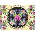 This beautiful note card features a dark floral centerpiece surrounded by a garden full of colorful paper cut flowers from the Lowicz region of Poland. The mailing envelope features flowers in both the foreground and background.  Features Poland in six la