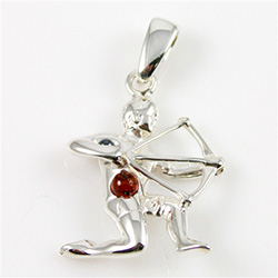 Hand made Cognac Amber Sagittarius pendant with Sterling Silver detail.  November 22 - December 21