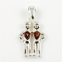 Hand made Cognac Amber Gemini pendant with Sterling Silver detail.  May 21 - June 20