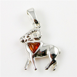 Hand made Cognac Amber Aries pendant with Sterling Silver detail.  March 21 - April 19