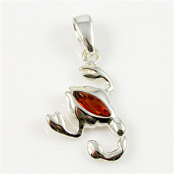 Hand made Cognac Amber Scorpio The Scorpion Zodiac Sign Pendant with Sterling Silver detail.