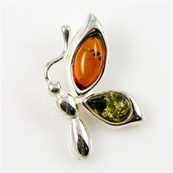 Hand made Green and Honey Amber Butterfly Pendant with Sterling Silver detail.