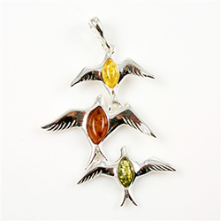 Hand made Multi-Color Amber Birds in Flight Pendant with Sterling Silver detail.
