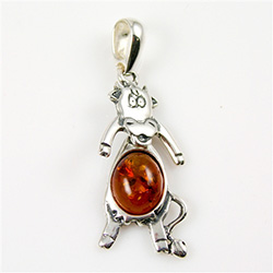 Hand made Honey Amber Dancing Cow Pendant with Sterling Silver detail.