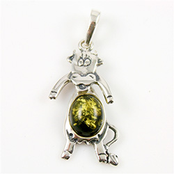 Hand made Green Amber Dancing Cow Pendant with Sterling Silver detail.