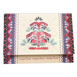 A beautiful glossy Christmas tri-fold card featuring a Highlander motif Christmas tree design.