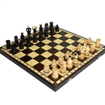 Wooden chess board and pieces are all inlaid with copper.  Pieces are hand turned, stained and finished with a high gloss. Shipping weight is 2kg (4.4 lbs.)