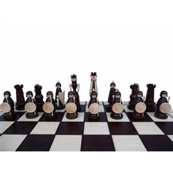 This beautiful chess set is made of three types of wood - the main part of the figure - of oak, while the other elements, maple and cherry.  Pieces are hand worked and assembled.  Flat finish.  Shipping weight is 3kg - 6.6lbs.