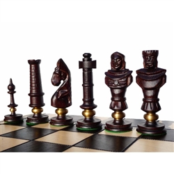 Carved figures and board both made of oak with a flat finish.  Each piece highlighted with a brass ring. Extra large board. Shipping weight is 4.8kg - 10.5lbs.