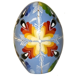 These beautiful goose size wooden eggs have a flat bottom so no stand is required.  The background color is light blue and the floral designs are different.  No two eggs are alike.