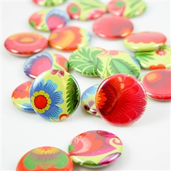 These small pin back buttons are bright and colorful, featuring traditional Polish wycinanki designs. We make these buttons in house, a Polish Art Center exclusive!