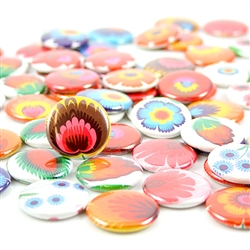 These small pin back buttons are bright and colorful, featuring traditional Polish wycinanki printed designs. We make these buttons in house, a Polish Art Center exclusive!  Set of 6 buttons.