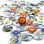 These small pin back buttons are bright and colorful, featuring traditional Polish Kashubian printed embroidery designs. We make these buttons in house, a Polish Art Center exclusive!