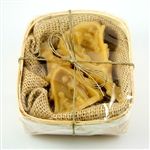 Set of 2 mini pure Polish beeswax candle nativities.  Nested in a burlap bed and housed in a woven wooden box.  Makes a perfect Christmas gift!