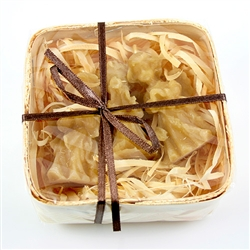 Set of 3 pure Polish beeswax candle angels nestled in a bed of wood shavings and housed in a box of woven wood.  Beautiful gift box.