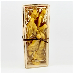 11 piece deluxe set of pure Polish beeswax figures nestled in a soft bed of wood shavings and housed in a gift box made of of woven wood.  Makes a great Christmas present.