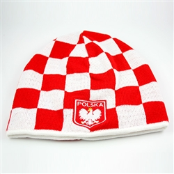 Display your Polish heritage!  Red and white check stretch ribbed-knit skull cap, which features Poland's national symbol the crowned white eagle on a shield below the word Polska (Poland).  Easy care acrylic fabric.  One size fits all.  Imported from Pol